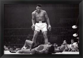 Framed Muhammad Ali - 1965 1st Round Knockout Against Sonny Liston