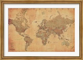 Framed Map of the World, vintage (mercator projection)