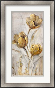 Framed Golden Poppies on Taupe I