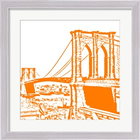 Framed Orange Brooklyn Bridge