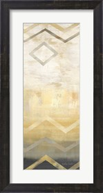 Framed Abstract Waves Black/Gold Panel I