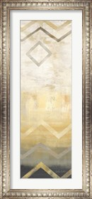 Framed Abstract Waves Black/Gold Panel III