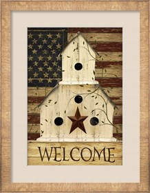 Framed Americana Welcome Birdhouse