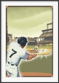Framed Vintage Baseball I