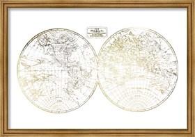 Framed Gold Foil World in Hemispheres