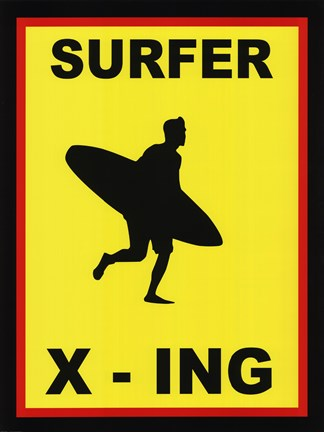 Framed Sign - Surfer Crossing Print