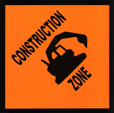 Framed Sign - Construction Zone Print