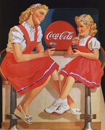 Framed Coca-Cola Young Girls Print