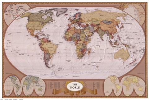 Framed Map of the World (mollweide projection) Print