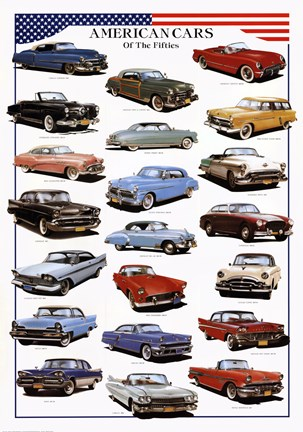 Framed American Cars of the Fifties Print