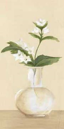 Framed White Flowers in Bottle 2 Print