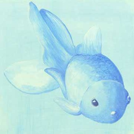 Framed Clear Blue Fish 1 Print