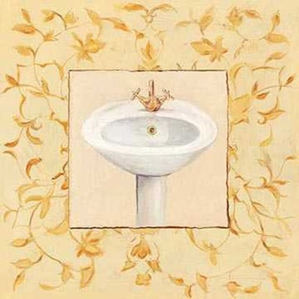 Framed Lambda-Type Ocher Golden Washbasin Print