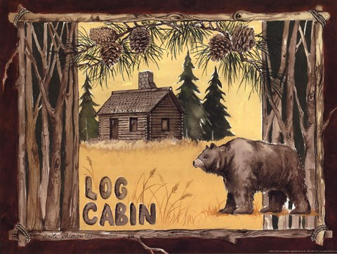 Framed Log Cabin Bear Print