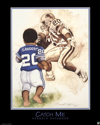 Framed Catch Me (Barry Sanders) Print