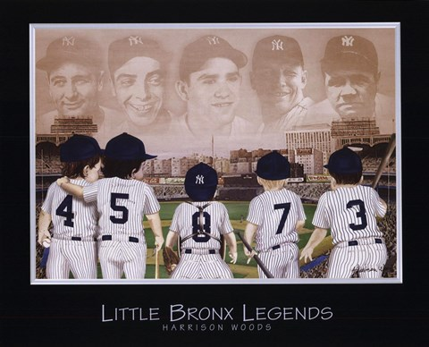 Framed Little Bronx Legends - Ruth, Gehrig, Mantle, DiMaggio, Berra Print