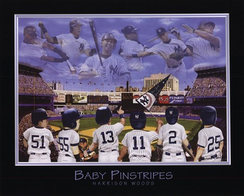 Framed Baby Pinstripes - 6 NY Yankees Print