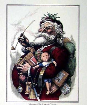 Framed Merry Old Santa Claus Print