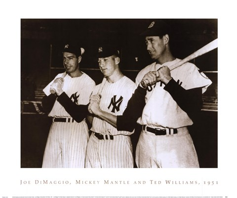 Framed Joe DiMaggio, Mickey Mantle & Ted Williams, 1951 Print