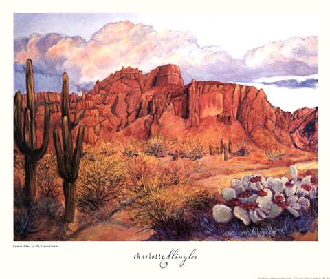 Framed Golden Hour of the Superstitions Print