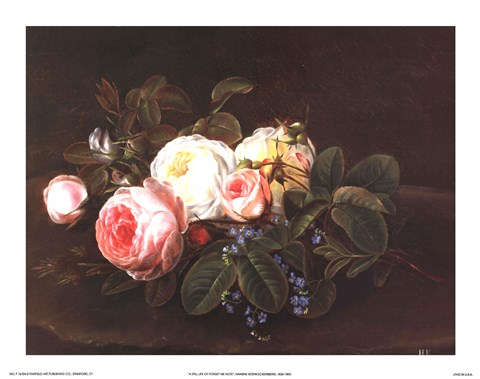 Framed Still Life with Roses and Forget-Me-Nots Print
