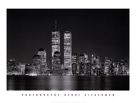 Framed New York, New York, Manhattan at Night Print
