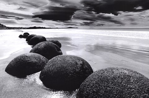Framed Boulders on the Beach Print