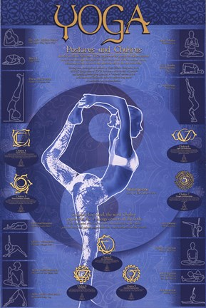 Framed Yoga - Postures And Chakras Print