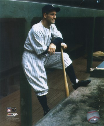 Framed Lou Gehrig - In dugout (color ) Print