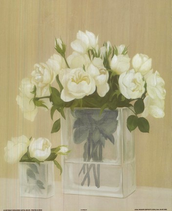 Framed White Flowers In Square Vase Print