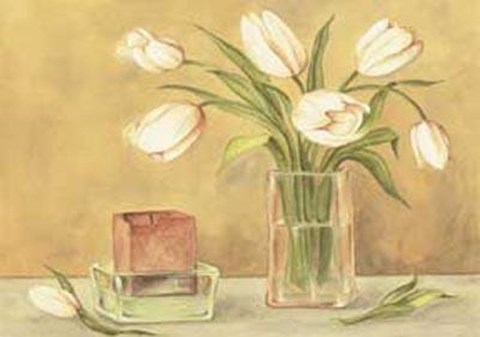 Framed White Tulips And Candle In Vase Print