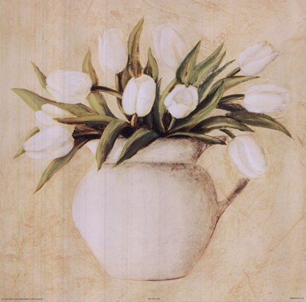 Framed White Tulips In Pitcher Print