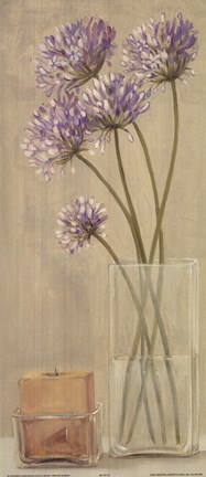 Framed Purple Flowers Candle In Vase Print