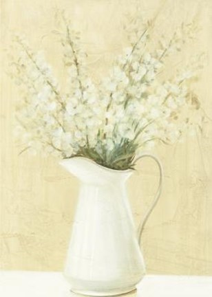 Framed White Flowers In White Pitcher Print