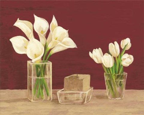 Framed White Cala Lilies, Tulips Candle In Va Print
