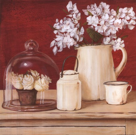 Framed White Flowers In Pitcher With Milk Can Print