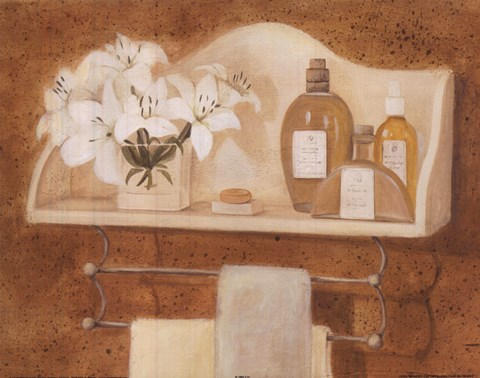 Framed Shelf With Bottles Lilies Print