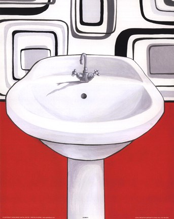 Framed Sink With Red Wall Print