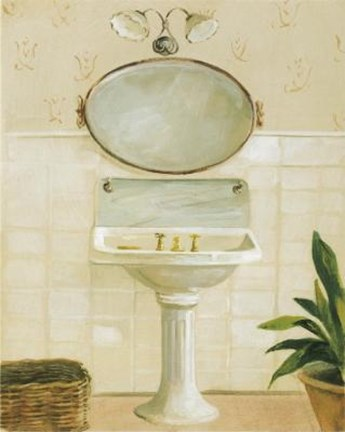 Framed Sink With Mirror And Light Print