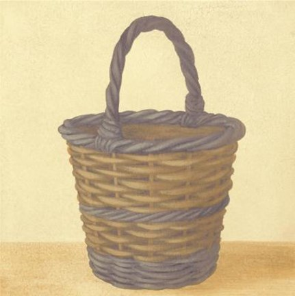 Framed Blue Brown Basket Print