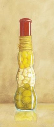 Framed Bottle With Olives Print