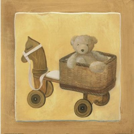 Framed Bear In Basket On Horse Print