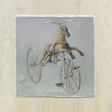 Framed Brown Horse Bike Print