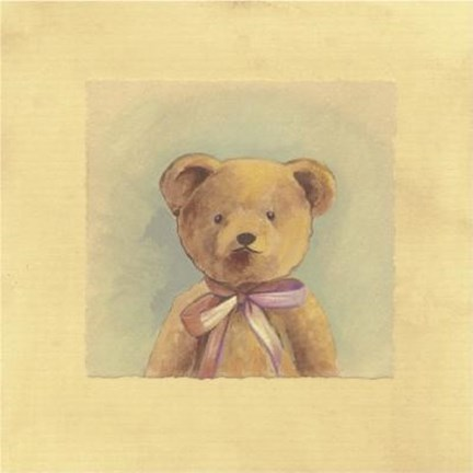 Framed Bear With Pink Ribbon Print