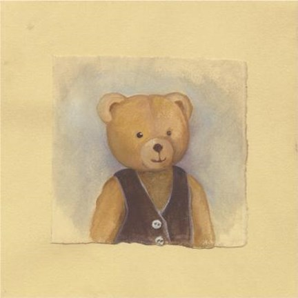 Framed Bear With Brown Vest Print
