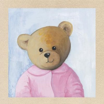 Framed Bear With Pink Shirt Print