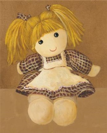 Framed Doll With Blonde Hair Pigtails Print