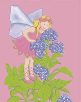Framed Fairy With Purple Flowers Print
