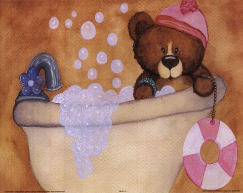 Framed Bear With Pink Hat In Bathtub Print