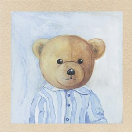 Framed Bear With Light Blue Striped Shirt Print